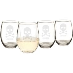 Cathy'S Concepts Personalized Skull & Crossbones Set Of 4 Stemless... ($65) ❤ liked on Polyvore featuring home, kitchen & dining, drinkware, engraved wine glass, hand blown wine glass, personalized wine glass, bubble wine glasses and swirl wine glasses