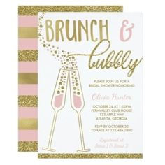 268 best bridal shower invitations and ideas images on pinterest in shop brunch and bubbly bridal shower invite faux gold card created by dereimerdesign filmwisefo