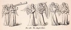 1862 Wood Engraving Frederick William Fairholt Angels Choir Holy Wings - Period Paper