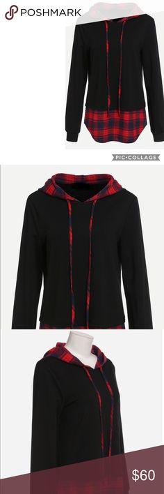 Hoodie Black hoodie with red plaid hem and hoodie.  Measurements: Shoulder: XS:36.5cm, S:37.5cm, M:38.5cm, L:39.5cm Bust: XS:89cm, S:93cm, M:97cm, L:101cm Sleeve Length: XS:59cm, S:60cm, M:61cm, L:62cm Length: XS:66.5cm, S:67.5cm, M:68.5cm, L:69.5cm Tops Sweatshirts & Hoodies