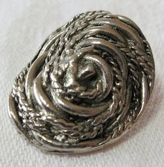 1X1 oval button metal silver toned. by ButtonsAndTreasures on Etsy