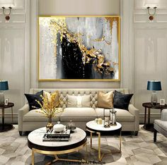 Home Decor Bohemian Large Oil Painting On Canvas Gold Leaf Painting Large Heron Canvas Art.Home Decor Bohemian Large Oil Painting On Canvas Gold Leaf Painting Large Heron Canvas Art Glam Living Room, Elegant Living Room, Formal Living Rooms, Living Room Decor, Dining Room, Living Room Inspiration, Living Room Designs, Interior Design, Luxury Interior