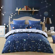 Give your girl's bedroom a cheerful upgrade with these galaxy nebula themed outer space bedding sets. The unique outer space bedding sets are the ideal accessory to place in a girl's room or include in a neutrally themed decor. Blue Teen Girl Bedroom, Girls Bedroom Sets, Teen Girl Bedrooms, Blue Bedroom, Trendy Bedroom, Bedroom Colors, Dream Bedroom, Childrens Bedroom, Girl Room