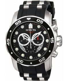 Invicta 6977 Pro Diver Quartz Watch for Men - Black for sale online Cool Watches, Watches For Men, Unique Watches, Invicta Pro Diver Chronograph, Vintage Omega, Black Rubber, Casio Watch, Stainless Steel Case, Quartz Watch