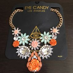 Eye Candy Los Angeles Flower Statement Necklace. Eye Candy Los Angeles pastel flower enamel statement necklace in gold. Eye Candy Los Angeles Jewelry Necklaces