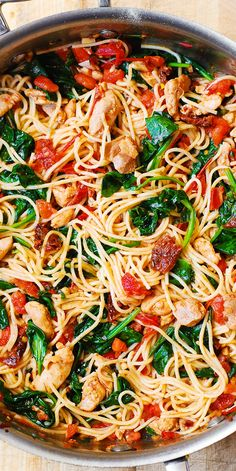 Tomato Spinach Chicken Spaghetti with Garlic