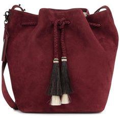 Loeffler Randall Burgundy suede bucket bag found on Polyvore featuring bags, handbags, shoulder bags, bolsas, accessories, purses, red suede handbag, purse shoulder bag, red hand bags and bucket bags