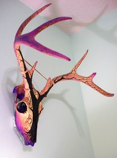 shadyufo: Dead Tree Sunset Painted Deer Skull Finally got this bad boy hung up in my studio this evening! I'll be painting some more of these (and some other designs) pretty soon. I've got six or seven antlered deer skulls that I'll start on as soon as I finish cleaning them. Three of them have some massive antlers.