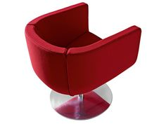 Swivel upholstered fabric armchair with armrests TULIP SIXTYSIX.