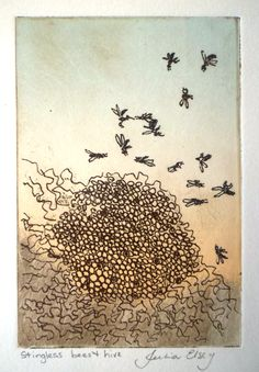 Julia Elsey – stingless bees and hive. Stingless Bees, Textile Prints, Lovers Art, Printmaking, Illustration Art, Childhood, Graphic Design, Ink, Inspired