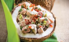 Coconut  lime ceviche | Recipe.  Fresh, tangy and irresistibly good, this island-inspired ceviche is ideal served as a starter at a dinner party, or enjoyed as a refreshingly light snack.