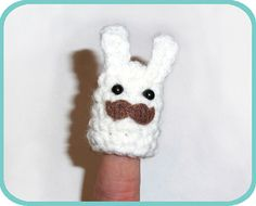 Bunny with a Mustache Finger Puppet by HappySquidMuffin on Etsy, $2.75