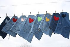 Aprons for little ones from repurposed jean legs - cute idea!