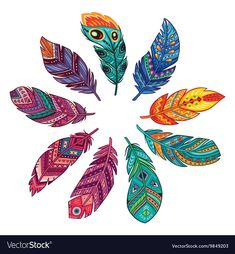 Vector set with tribal, indian and aztec, hipster, boho feathers Feather Drawing, Feather Painting, Feather Art, Tribal Feather, Tattoo Indio, Feather Crafts, Leaf Art, Mandala Art, Painting & Drawing