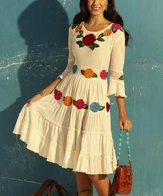 White & Red Floral Appliqué Peasant Dress
