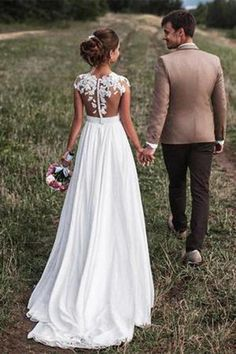 Lovely Off White Lace Appliques Cap Sleeves Long Chiffon Beach Wedding Dresses 2018 OK827