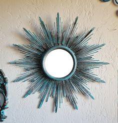 Vintage looking Starburst Mirror Sputnik Mid-Century Steampunk Hard Rock Blue Sunburst Mirror Mid Century French Vintage Brass looking color (90.00 USD) by pinkelephants03