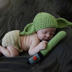 Cheap costume hat, Buy Quality newborn photography props directly from China newborn photography Suppliers: Newborn Photography Props Star Wars yoda Costume Hat+Pants+Stick Green Photographie Handmade Knitted Fotografia Studio Shoot Crochet Toddler, Newborn Crochet, Crochet For Boys, Crochet Baby, Hand Crochet, Knit Crochet, Baby Boys, Baby Kostüm, Newborn Boys