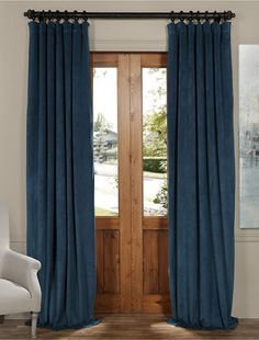 Signature Twilight Blue Blackout Velvet Curtain - SKU: VPCH-160410 at https://halfpricedrapes.com