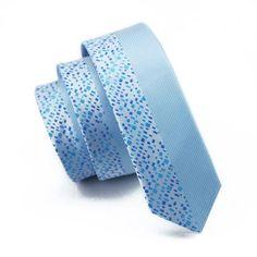 Mens Ties Silk Skinny Ties For Men Narrow Gravata Slim Tie Novelty Blue Necktie