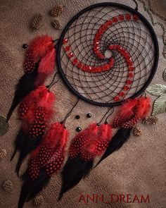 "34 Likes, 7 Comments - @anndreamcatcher on Instagram: ""Black & Red #dream #dreamcatcher #dreamcatchers #handmade #ann_dream #ловецснов #петропавловск…"""
