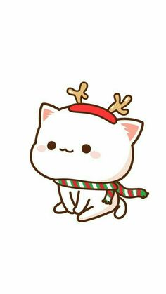 waiting for you. to come back at my side again _(:з」∠)_ caus i know you would. Cute Kawaii Drawings, Kawaii Doodles, Cute Animal Drawings, Cute Kawaii Animals, Kawaii Cat, Chibi Cat, Cute Chibi, Cute Cat Gif, Cute Cats