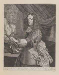 Engraving of William III as Prince of Orange. Three quarter length with wig, lace cravat, armour, sash, and order on ribbon around neck. With baton in left hand and with right placed upon a gauntlet on a table beside a plumed helmet. With coat of arms and drapery in background. Dutch inscription below. Royal Collection Trust/© Her Majesty Queen Elizabeth II 2016