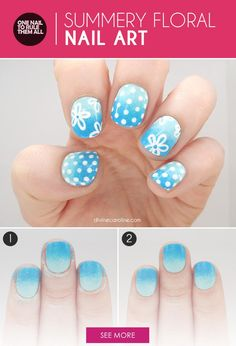Hit the Beach with This Summery Floral Nail Art - What better way to celebrate the arrival of warm weather than with this floral nail art? Perfect for hitting the waves, this summer-bright look is easy to achieve and to customize. Plus, it makes a playful, colorful accessory to any fair-weather outfit.