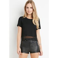 Forever 21 Mesh-Hem Boxy Tee ($13) ❤ liked on Polyvore featuring tops, t-shirts, mesh tee, lightweight t shirts, forever 21 tee, forever 21 t shirts and mesh t shirt