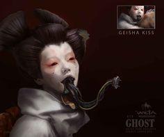 Ghost in the Shell - Geisha 02 Geisha Kunst, Geisha Art, Workshop Design, Design Studio, Digital Portrait, Portrait Art, Dark Background Wallpaper, Robots Drawing, Cyberpunk Aesthetic