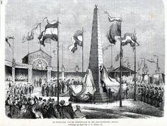 Antique print:Scheveningen Holland Onthulling Gedenknaald 1865 houtgravure