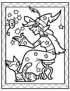 Sitting Witch Coloring Page