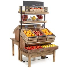 Addition of central tall racks to existing fruit and veg display area Vegetable Stand, Vegetable Shop, Fruit And Veg Shop, Shop Shelving, Farm Store, Bakery Store, Bakery Display, Counter Design, Store Displays