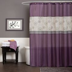 my bath  @Overstock - Styled with a modern floral embroidery and ribbon accents, this shower curtain brightens any bathroom. The very popular purple base color along with the bright grey piecing helps to complement any décor.http://www.overstock.com/Bedding-Bath/Lush-Decor-Covina-Purple-Shower-Curtain/7458251/product.html?CID=214117 $34.99