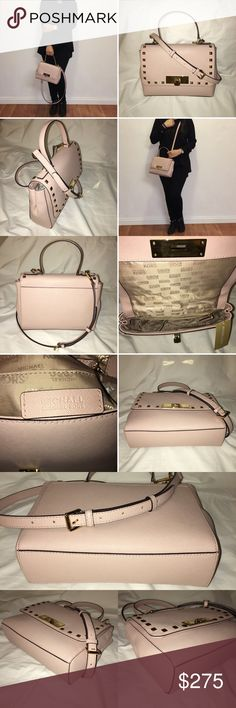 """NEW Michael Kors Callie Stud Leather Cross Body NEW Authentic Michael Kors Callie Stud Saffiano Leather Satchel Handbag / Crossbody, Shoulder Bag, & Top Handle  Adjustable & Removable Strap  Condition: New with tags  Color: Ballet (ballerina/ light pink) with golden hardware  Michael Kors Signature Fabric Lining  Approx. Measurement: 6.5""""H x 8.5""""W x 3""""D  Interior: 1 zippered pocket, 4 slip pockets. Exterior:1 magnetic snap closure pocket at the back. Michael Kors Bags Crossbody Bags"""