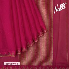 Look glamorous in this pink mysore chiffon saree adorned with lovely stone work on the body and the border. Cotton Saree Blouse, Saree Blouse Neck Designs, Saree Blouse Patterns, Chiffon Saree Party Wear, Wedding Silk Saree, Kerala Saree, Indian Sarees, Shiffon Saree, Indian Wedding Wear