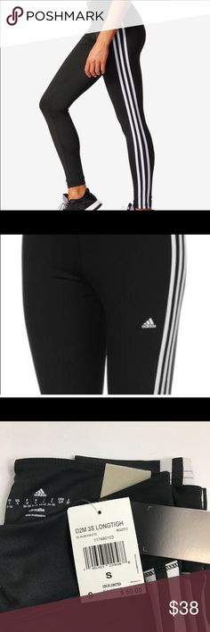 🎉 ADIDAS climalite 3 stripe leggings ADIDAS NWT leggings size small  material tag pictured. adidas Pants Leggings