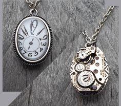 REVERSIBLE - Clockpunk Steampunk Necklace, Stainless Steel Elgin Watch Movement & Fleur de lis Pendant on Cable Link Chain