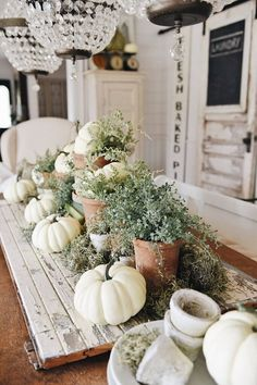 Rustic Garden Fall Dining Room Table – Farmhouse Decor Above Couch Thanksgiving Table, Thanksgiving Decorations, Seasonal Decor, Autumn Decorations, Vintage Thanksgiving, Christmas Tables, House Decorations, Holiday Tables, Thanksgiving Crafts