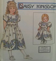 "Daisy Kingdom Dress Matching Doll Clothes 18"" Sewing Pattern 8554 Floral 3-6"