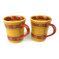 Get a taste of Mexico with this Set of 2 lead free Hand-painted Flared Mugs in Honey - Encantada from ArtisansExchange.org