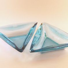 2 Vintage Triangle Ice Blue Ash Trays - Reserved For Tutuya