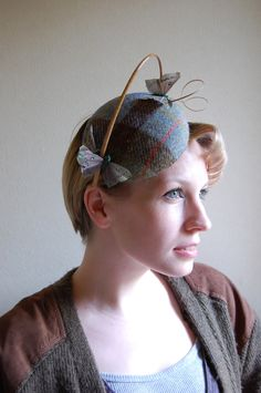 bc909ef1651 Cocktail hat The Wind Over The Ocean blue harris tweed hat