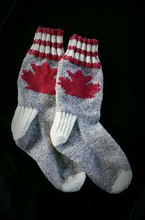 In Celebration of Canada's 150th Birthday, I have designed these warm and cozy socks featuring a Maple Leaf motif. The motif is charted and uses stranded color-working techniques.