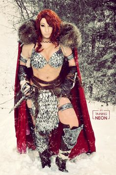 It's Raining Neon Red Sonja cosplay