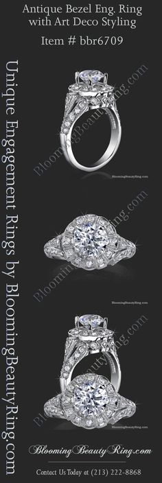 "Vintage Style Engagement Ring available in ""Prong Set"" or ""Bezel Set"" options.  By BloomingBeautyRing.com  (213) 222-8868"