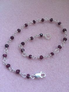 A personal favorite from my Etsy shop https://www.etsy.com/listing/277300614/garnet-and-sterling-silver-anklet