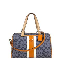 JUST RELEASED !! Be the sassy owner of the 100% Authentic Guaranteed and absolutely chic COACH Signature PVC Navy/Orange Stripe Satchel Crossbody Handbag !! (MSRP-$328) SALE: $250.00 #coach #handbags #AideaJewels  #AideaTrading  #Aidea  #designer #purse  #style  #fashion  #shopping  #sale #cheap #giveaway #clearance  #crossbody #messenger #shoulder #wallet #Wristlet #Hobo #womenbags #womenfashion