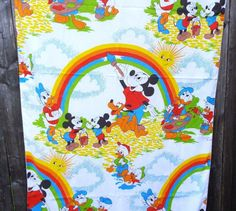 #Vintage #DISNEY Fabric Curtain Panels Mickey Minnie Donald Pluto Material 81 inch