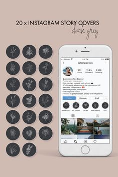 Shop my 20 hand-drawn dark grey botanical instagram highlights. Grey Highlights, Pink Instagram, Instagram Highlight Icons, Dark Grey, Different Colors, Hand Drawn, How To Draw Hands, Shop My, Cover